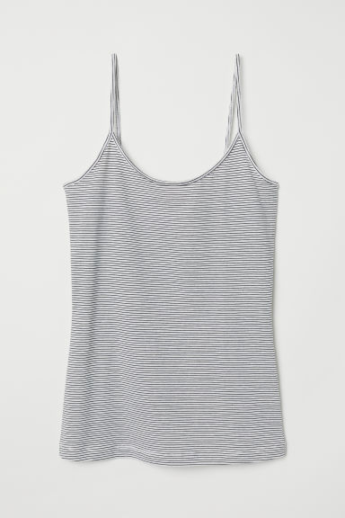 Top basic con spalline sottili - Bianco/nero righe - DONNA | H&M IT
