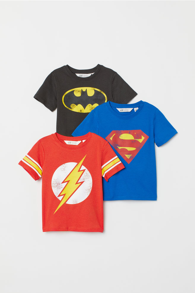 8f4def20fd7 3-pack Printed T-shirts - Black/Justice League - Kids | H&M US