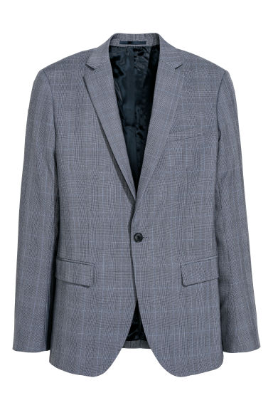 Jacket Slim fit - Blue/Checked - Men | H&M