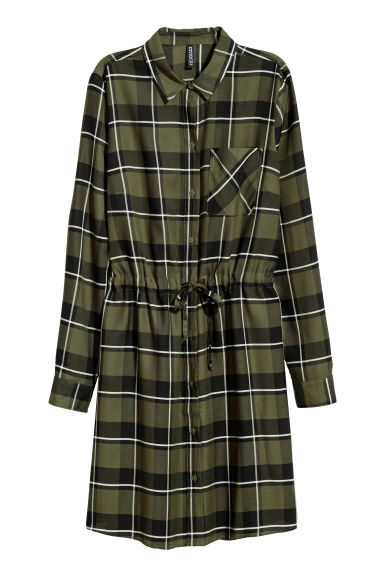 Shirt dress - Dark green/Checked -  | H&M