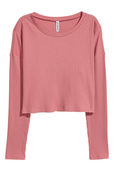 Ribbed jersey top - Vintage pink -  | H&M