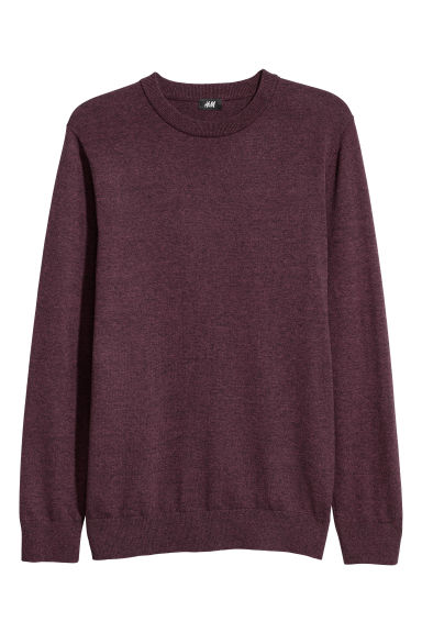 Fine-knit jumper - Burgundy marl - Men | H&M GB