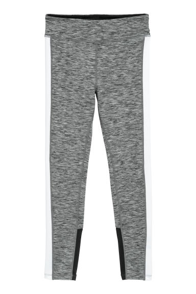 Sports tights - Dark grey marl/White - Kids | H&M CN