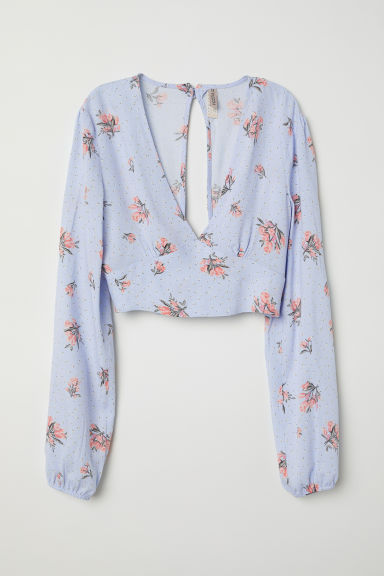 V-neck blouse - Light blue/Floral - Ladies | H&M