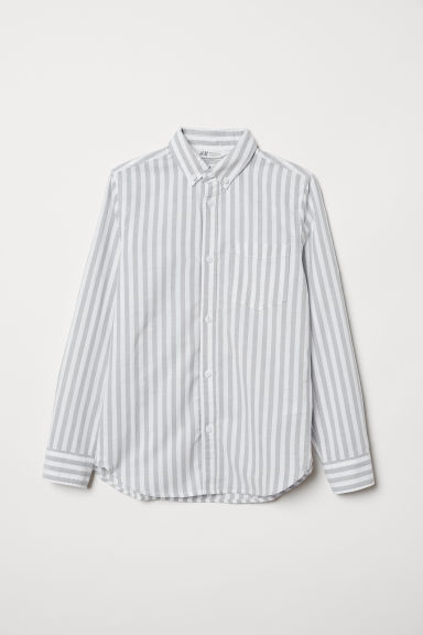 Long-sleeved cotton shirt - Light grey/White striped - Kids | H&M