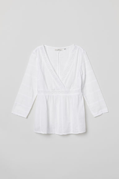 Blouse with broderie anglaise - White - Ladies | H&M
