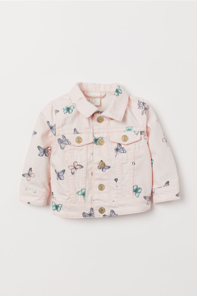 9fdae53de1eee4 Patterned Denim Jacket - Powder pink/butterflies - Kids | H&M ...