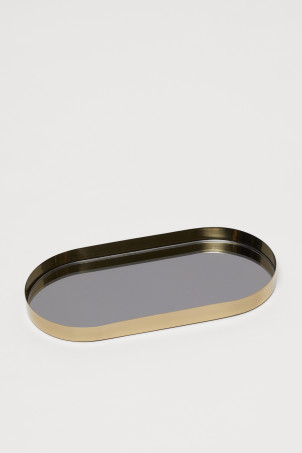 Oval mirrored glass tray