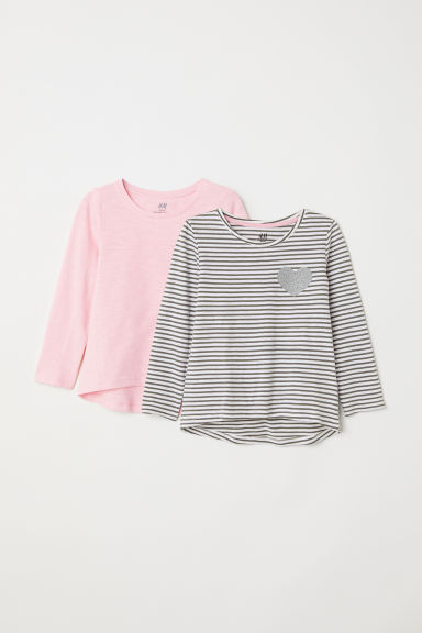 2-pack jersey tops - Pink/Striped - Kids | H&M