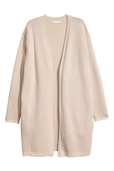 Rib-knit cardigan - Light beige -  | H&M