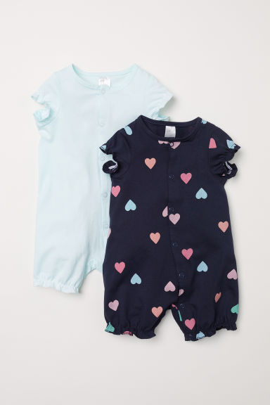 2-pack all-in-one pyjamas - Dark blue/Hearts -  | H&M
