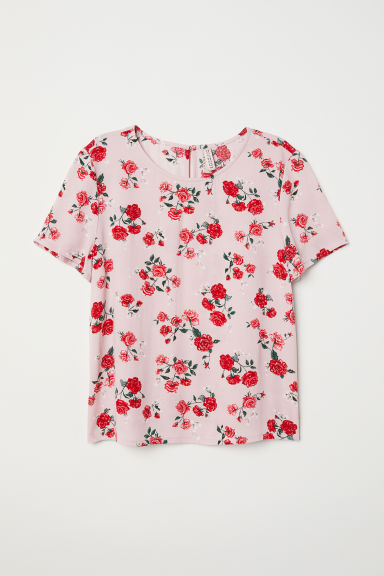 Short-sleeved viscose top - Old rose/Floral -  | H&M CN