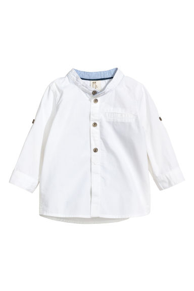 Grandad collar shirt - White - Kids | H&M