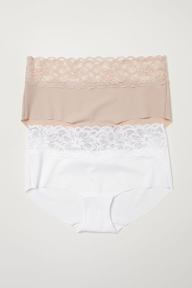 Set van 2 slips - Shortie - Wit/beige -  | H&M BE