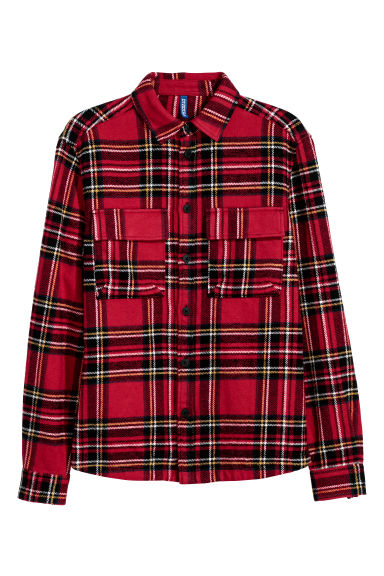 Cotton twill shirt jacket - Red/Checked -  | H&M