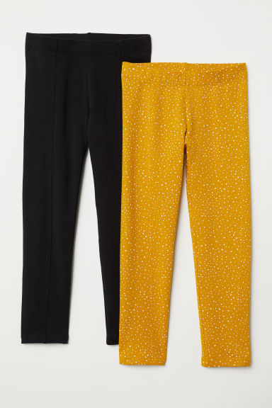 2-pack sturdy jersey leggings - Mustard yellow/Black - Kids | H&M CN