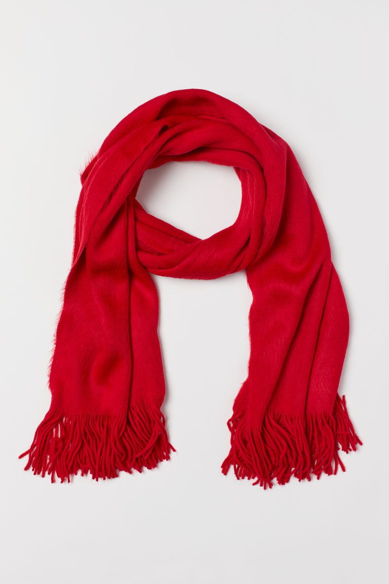 Knitted scarf - Red -  | H&M CN