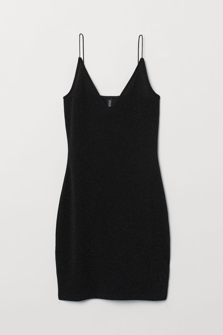 Fitted dress - Black/Glitter -  | H&M CN