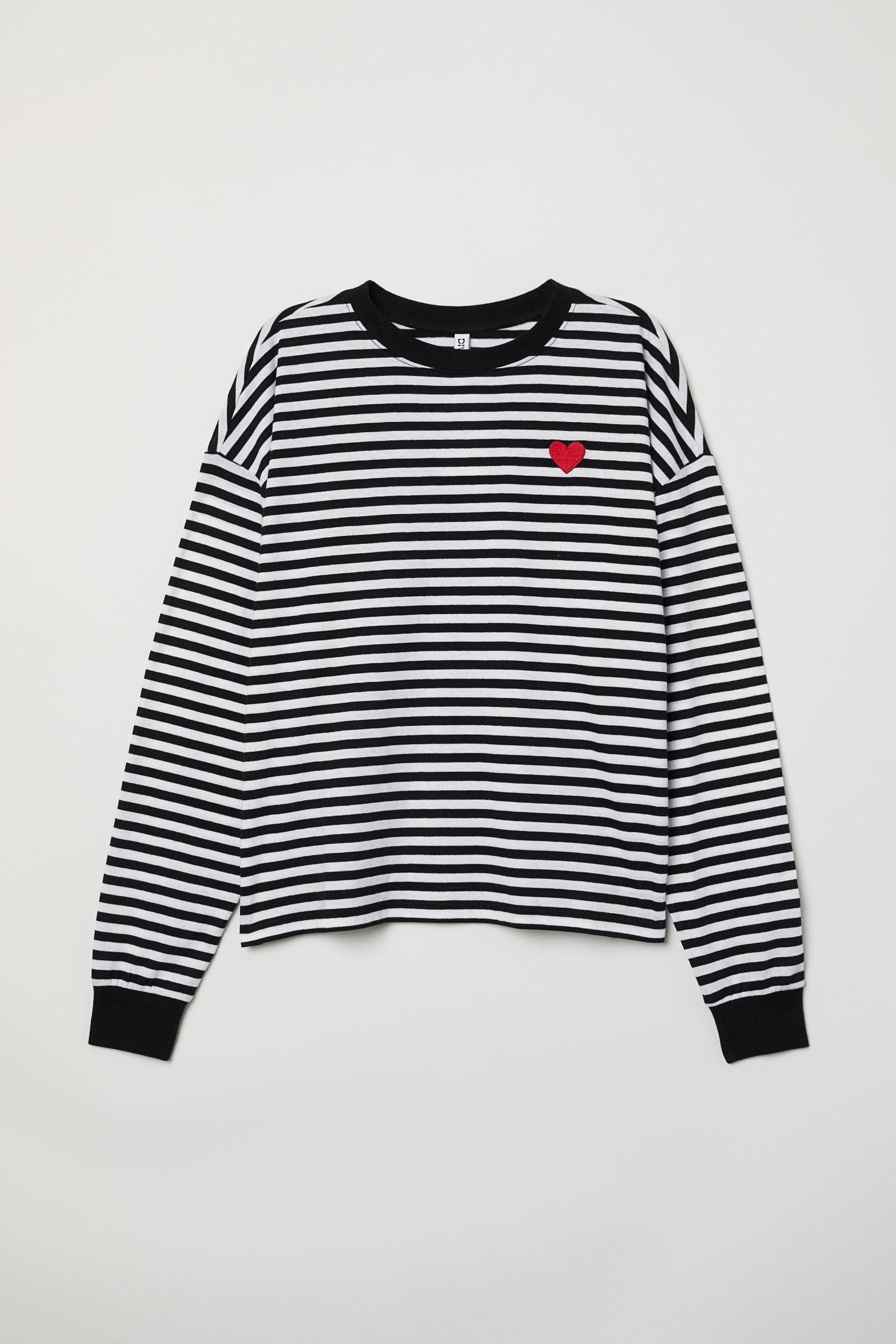 9939c0f9893 Striped Jersey Top - Black white striped - Ladies