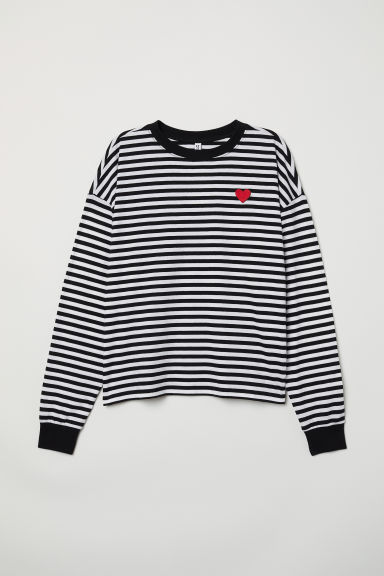Striped jersey top - Black/Striped -  | H&M