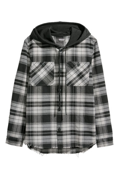 Hooded shirt - Dark grey/Black checked - Men | H&M IE
