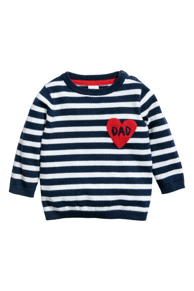 Jacquard-knit jumper - Dark blue/White striped - Kids | H&M