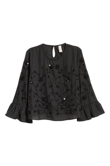 Camicetta con perline - Nero -  | H&M IT