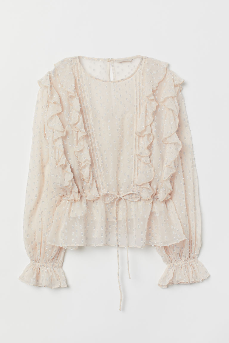 Blouse with Flounces - Light beige - Ladies | H&M US