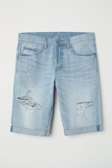 Straight Long Denim Shorts - Light denim blue -  | H&M IN