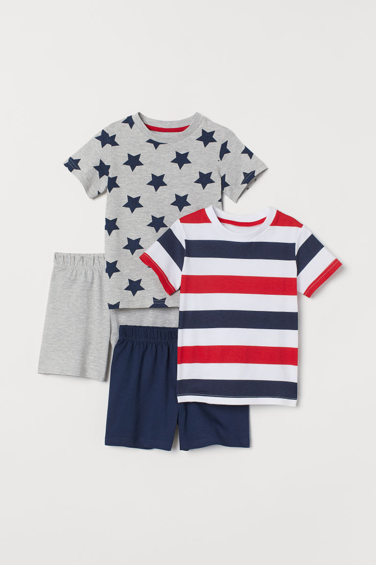 2-pack jersey pyjamas - Blue/Red striped - Kids | H&M