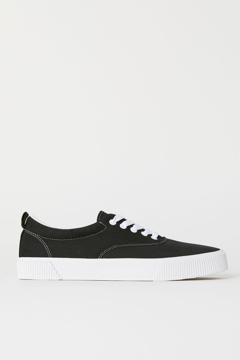 Cotton fabric shoes - Black - Men | H&M IN