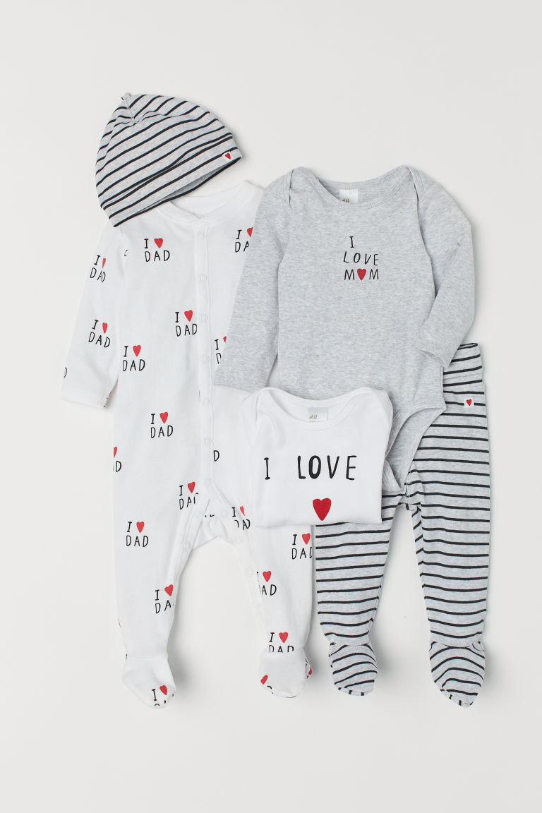 5-piece jersey set - Light grey marl/I Love - Kids | H&M CN