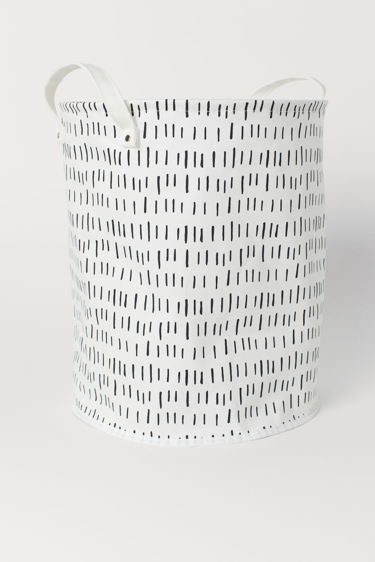 Canvas storage basket - White/Patterned - Home All | H&M CN