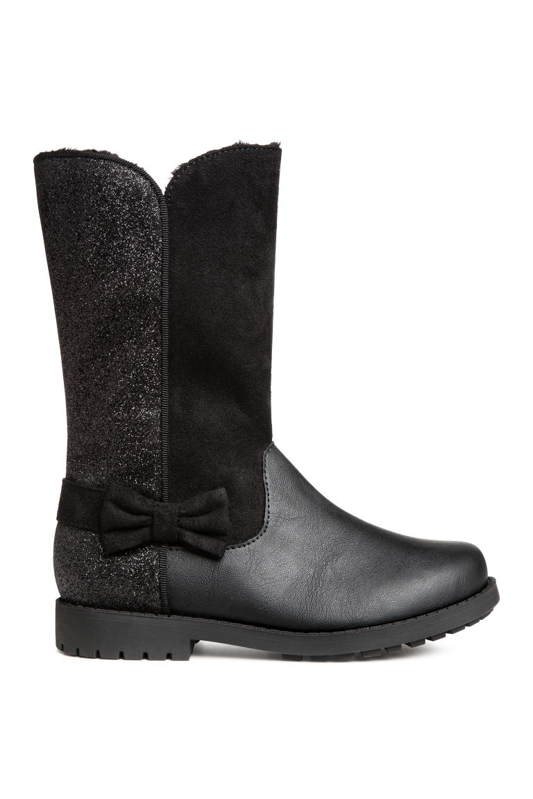 Warm-lined boots - Black/Glittery - Kids | H&M GB
