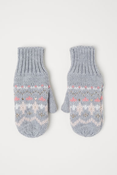 Knitted mittens - Grey marl - Kids | H&M CN
