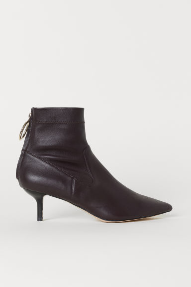 Leather ankle boots - Oxblood red - Ladies | H&M CN