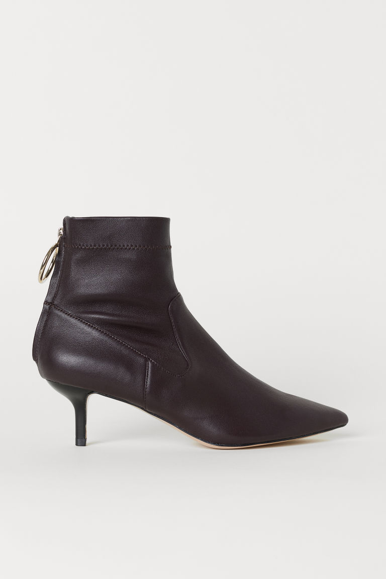Leather Ankle Boots - Oxblood red - Ladies | H&M US
