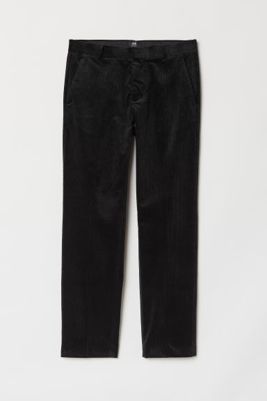 Corduroy trousers Regular Fit - Black - Men | H&M