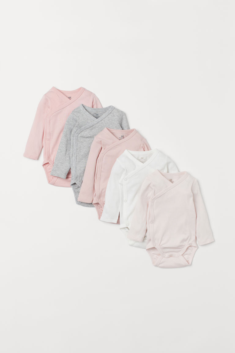 5-pack wrapover bodysuits - Light pink - Kids | H&M