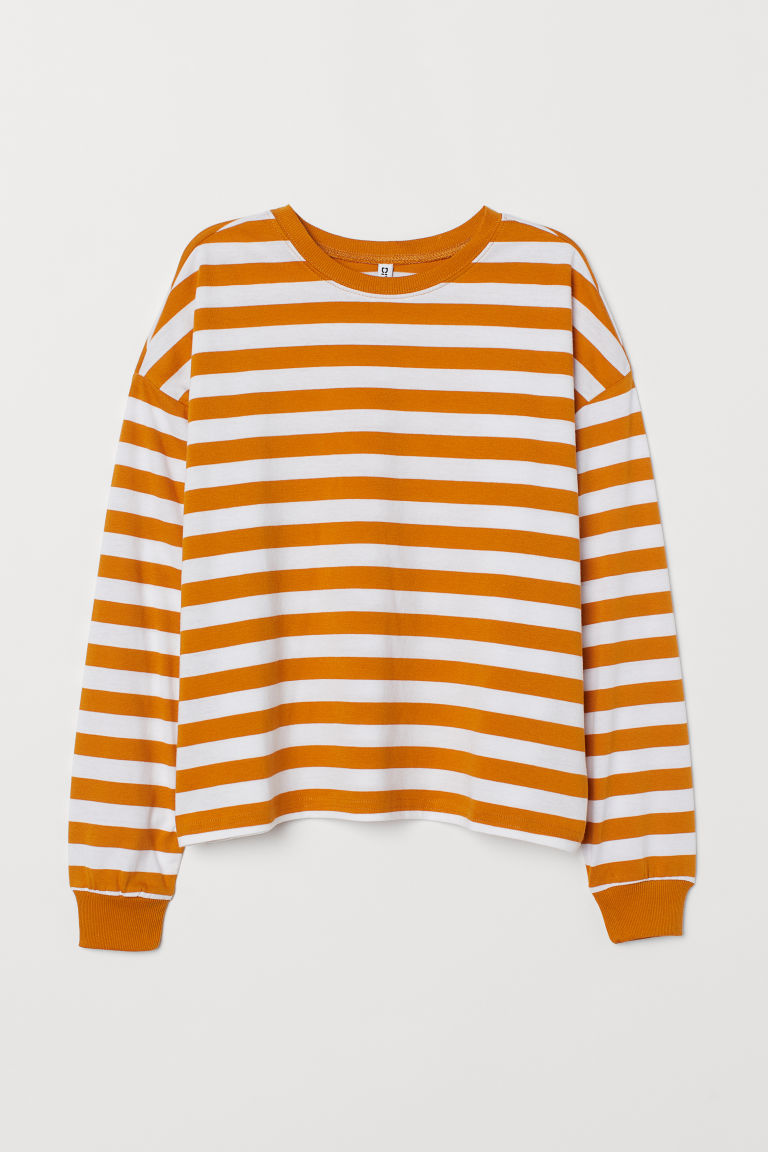 Striped jersey top - Mustard yellow/White striped -  | H&M