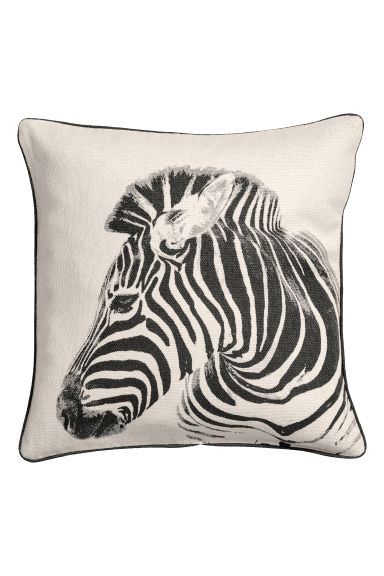 Printed cushion cover - Natural white/Zebra - Home All | H&M GB