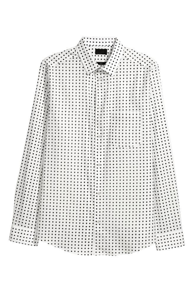 Camisa de algodón Slim fit - Blanco Lunares negros - HOMBRE  8d2b0c8cec9
