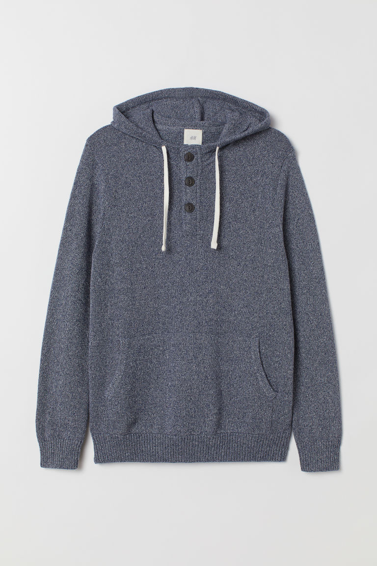 Hooded jumper with buttons - Blue marl - Men | H&M GB