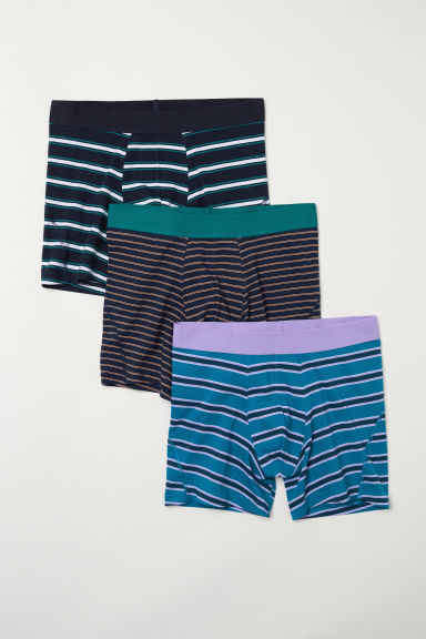 3-pack mid trunks - Dark blue/Striped - Men | H&M CN