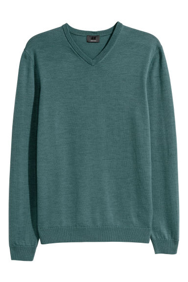 V-neck merino wool jumper - Dark turquoise - Men | H&M