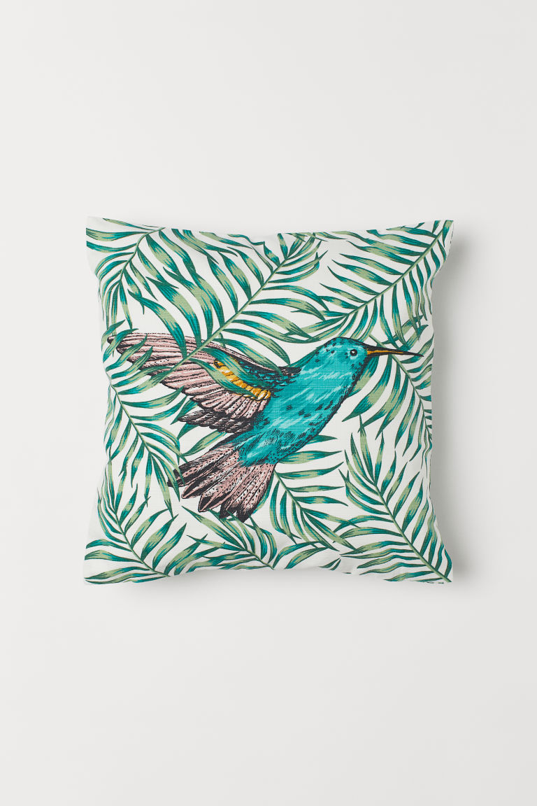 Patterned cushion cover - White/Hummingbird -  | H&M CN