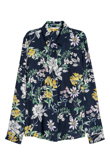 Crêpe blouse - Dark blue/Floral - Ladies | H&M