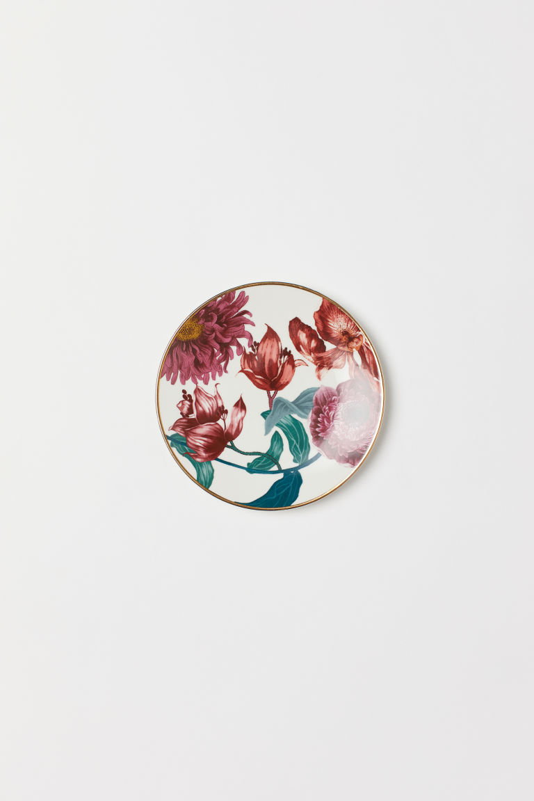 Small Porcelain Plate - White/floral - Home All | H&M US