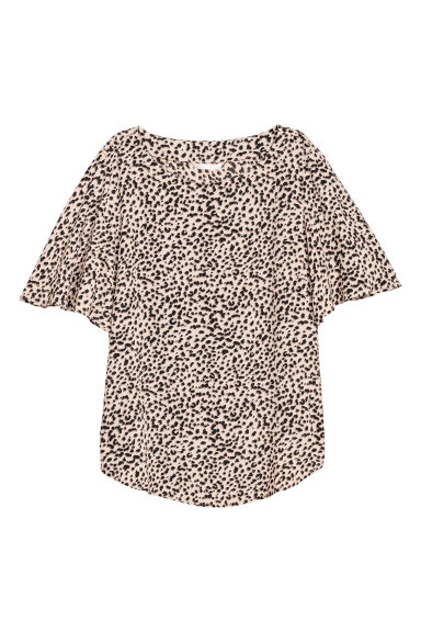 Trumpet-sleeved blouse - Light beige/Leopard print -  | H&M CN