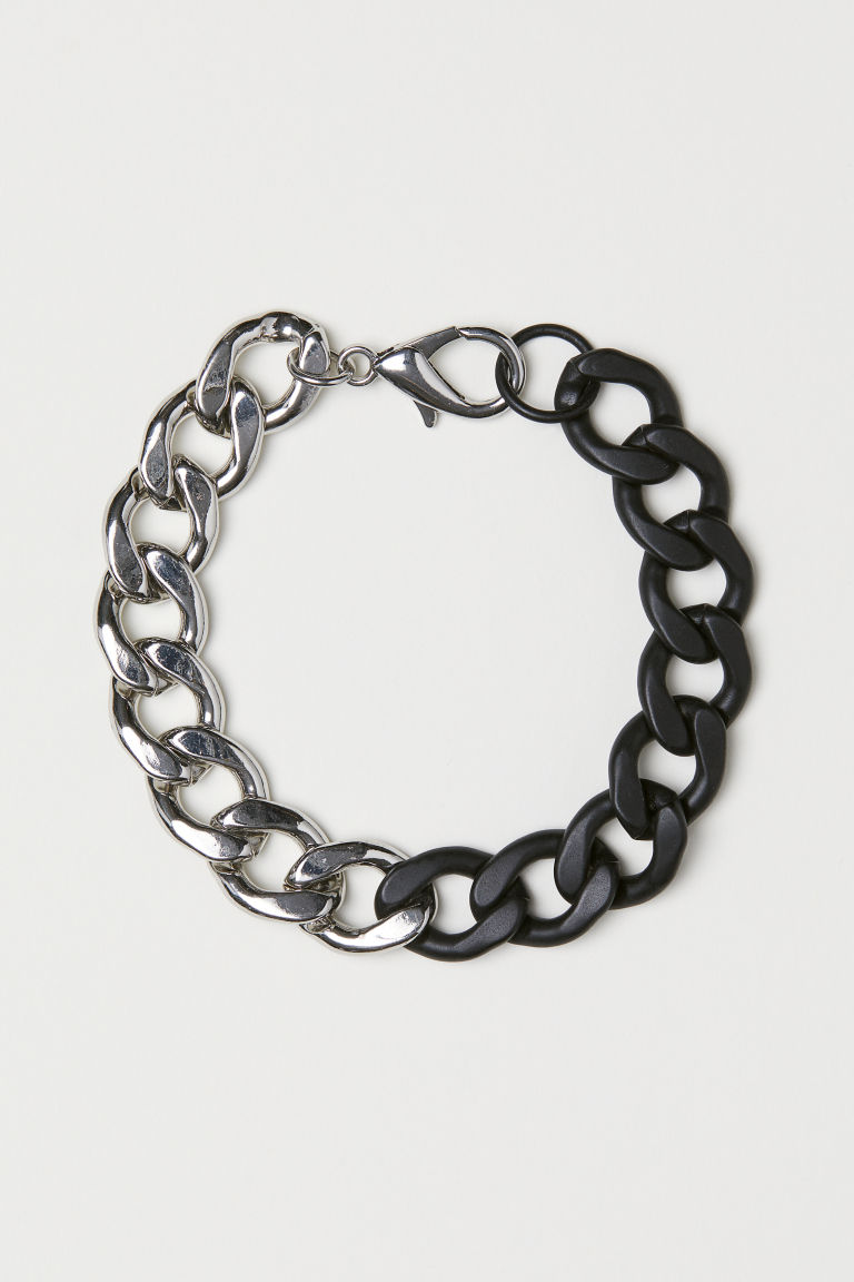Metal bracelet - Black/Silver-coloured - Men | H&M